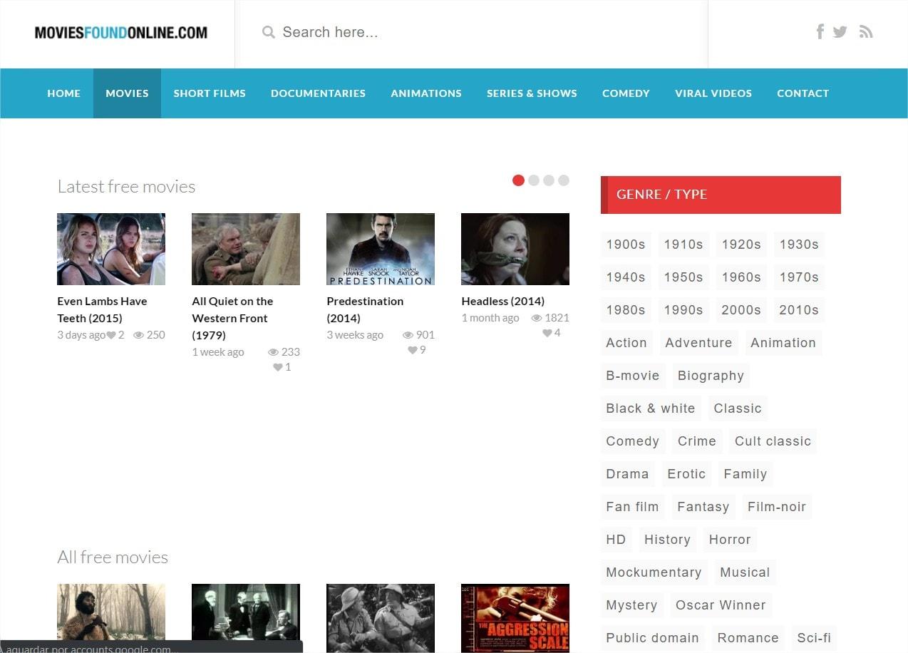 filmes encontrados online gratuitamente