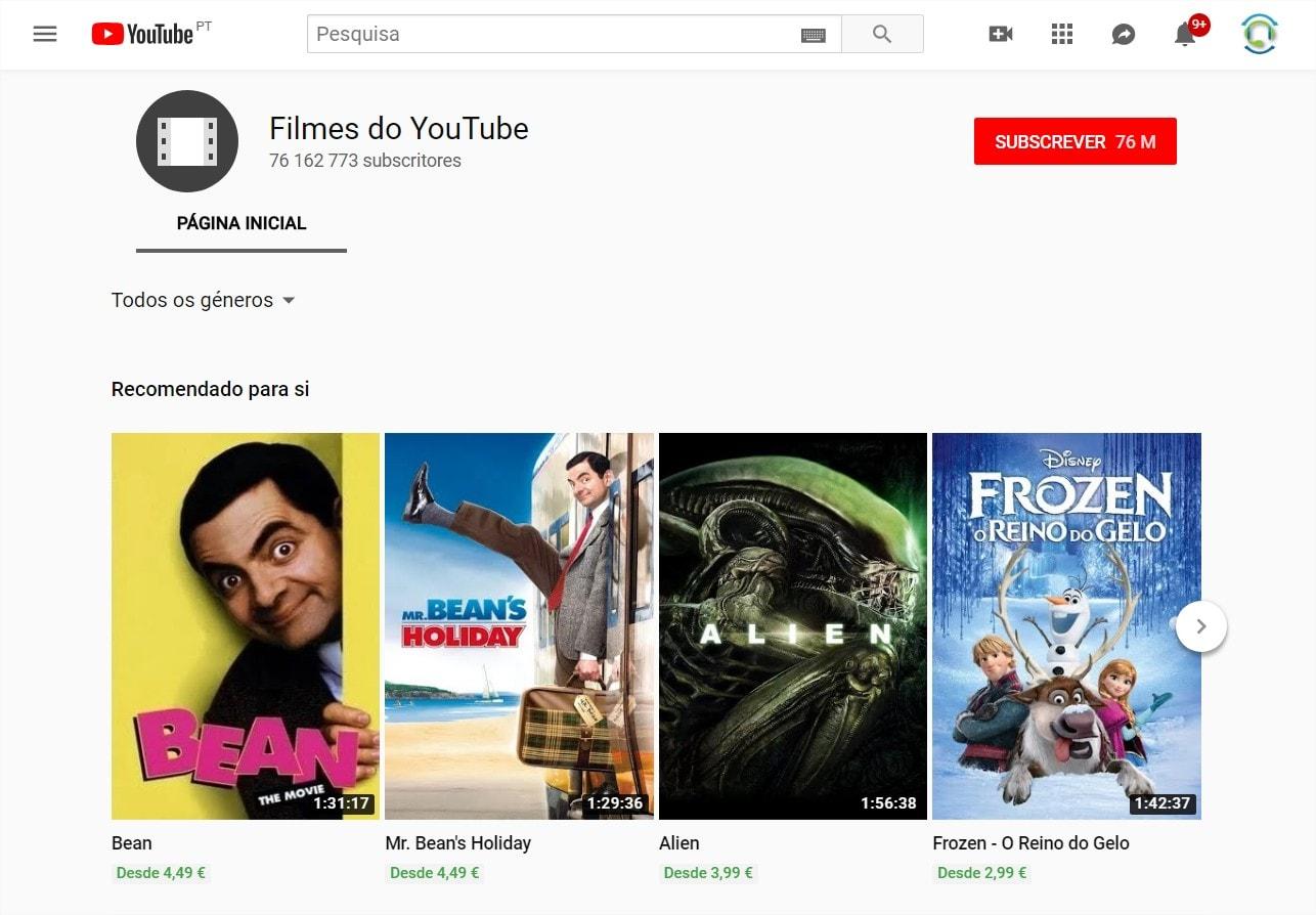 filmes grátis do youtube