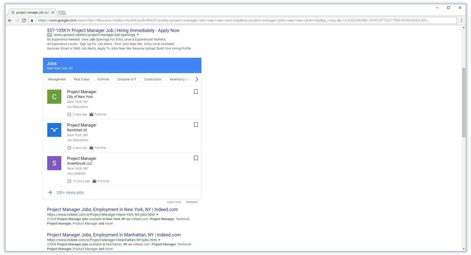 Google para trabalhos exibidos nos resultados da pesquisa