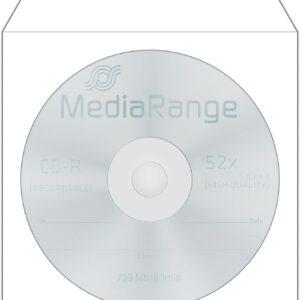Bolsas Papel MEDIARANGE p/ CD/DVD individuais – Pack 50 Unidades